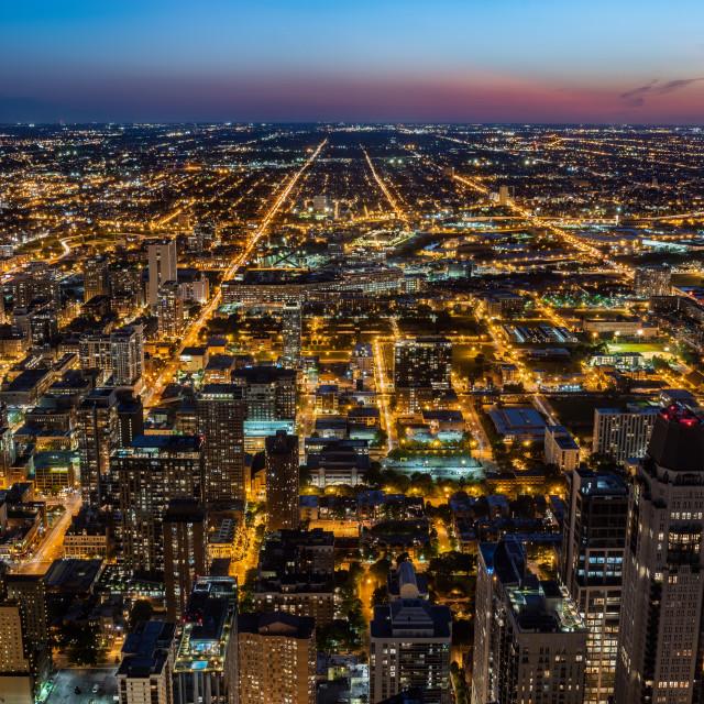 """""""Chicago skyline at the sunset, Illinois, United States"""" stock image"""