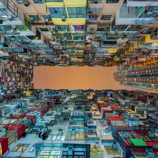 """Dense residential building at night, Quarry Bay, Hong Kong, China"" stock image"
