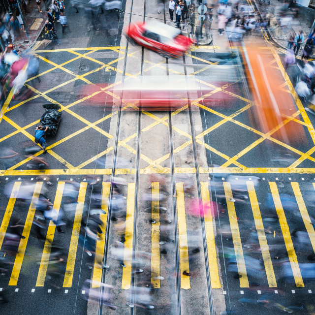 """""""People and taxi in blurred motion, Hong Kong, China"""" stock image"""