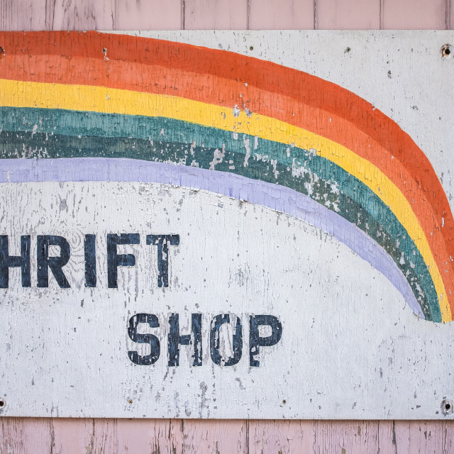 """""""Grungy Thrift Shop Sign"""" stock image"""