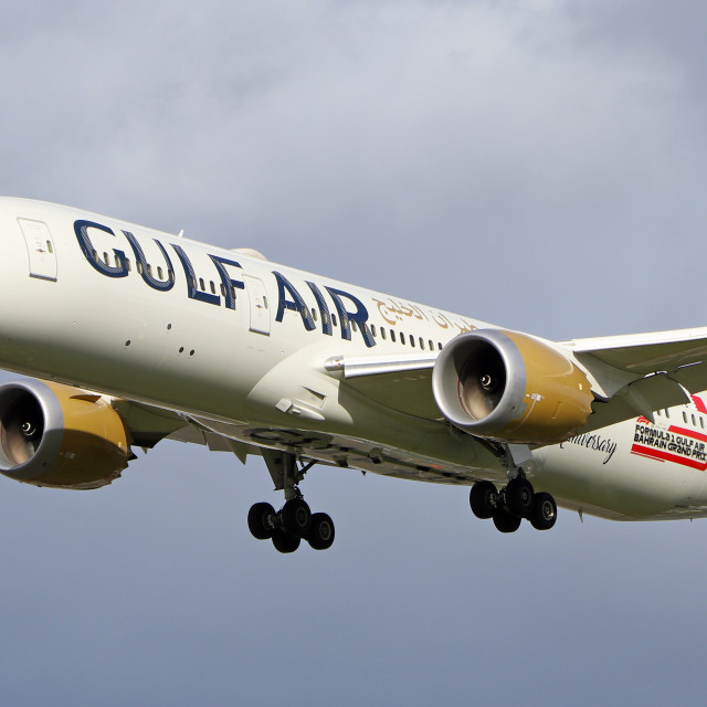 """Gulf Air Dreamliner arrival into Heathrow"" stock image"