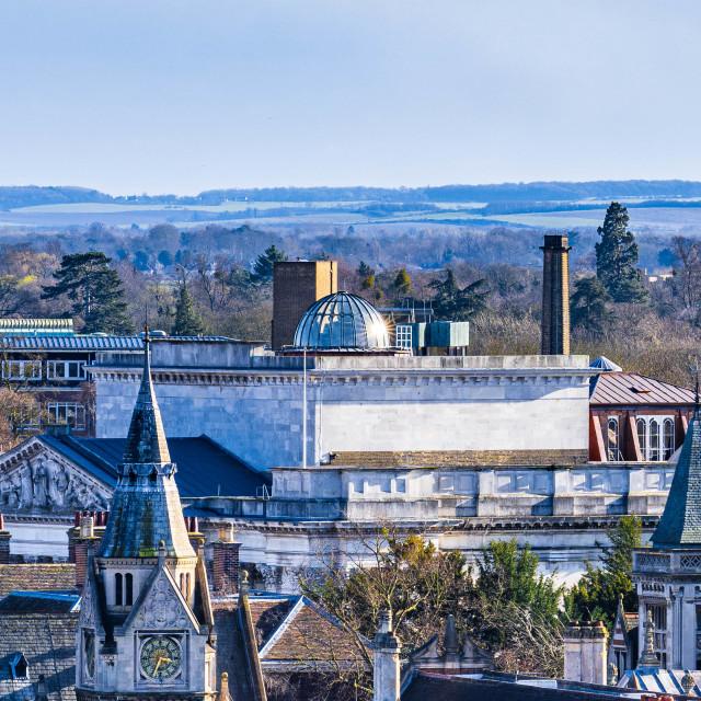 """""""Aerial view of Fitzwilliam Museum Cambridge UK."""" stock image"""