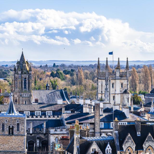 """Aerial View Corpus Christi College, University of Cambridge UK."" stock image"