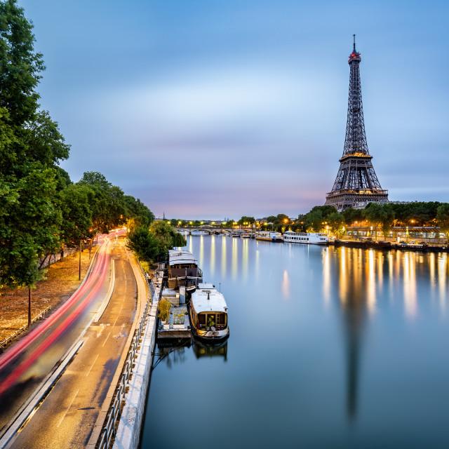 """Paris skyline on the Seine river at dawn, Paris, France"" stock image"