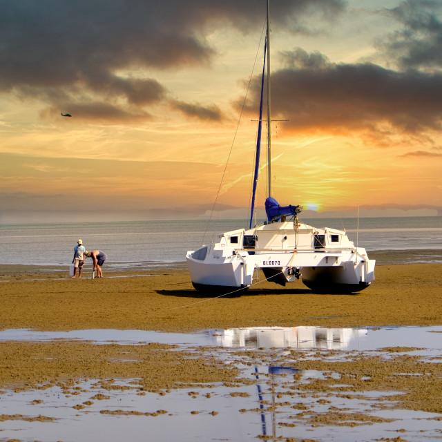 """""""Low Tide Sunset Hervey Bay"""" stock image"""