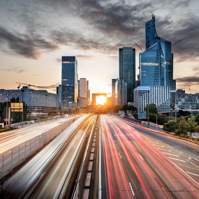 """""""Paris cityscape at sunset, La Defense, Paris, France"""" stock image"""