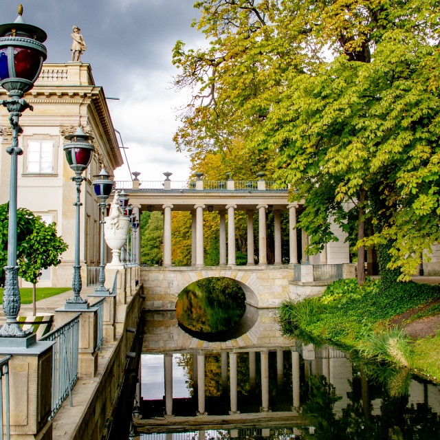 """'Palace on the Isle', in Warsaw's Royal Baths Park, the city's largest park."" stock image"