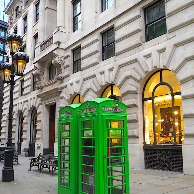 """Green telephone boxes in London"" stock image"
