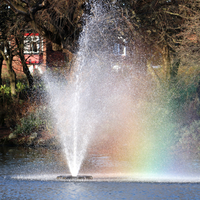 """Rainbow fountain in Locke Park, Redcar."" stock image"