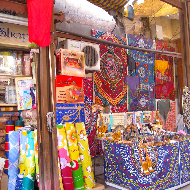 """Fabric shop in an Egyptian souk"" stock image"