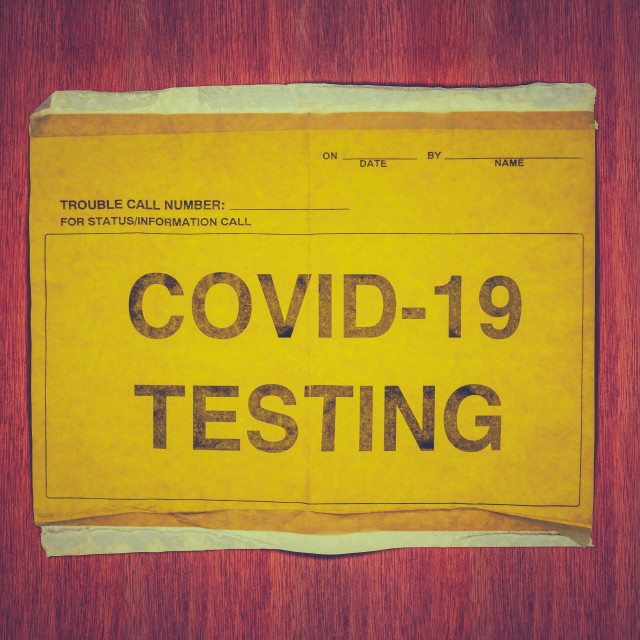 """""""Sign For A COVID-19 Testing Station"""" stock image"""