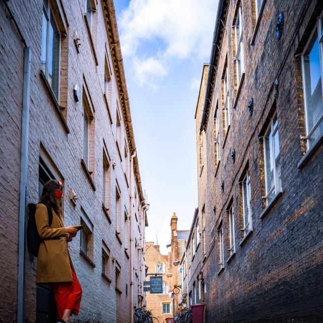 """""""Laundress Lane, Cambridge UK."""" stock image"""