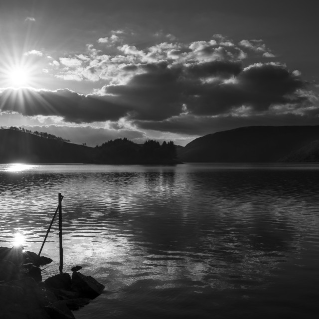 """Late afternoon sun over the Llyn Clywedog"" stock image"