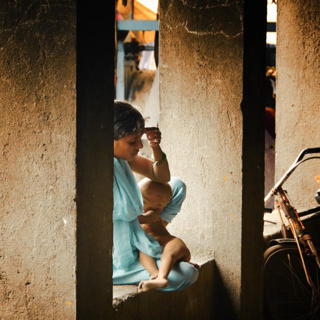 """""""Mom in Dhobi Ghat"""" stock image"""