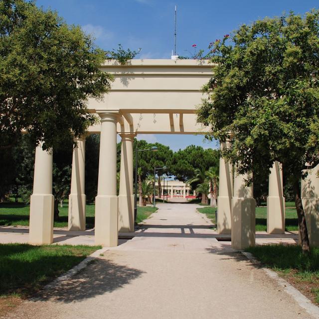"""Turia river park colonnade in Valencia"" stock image"