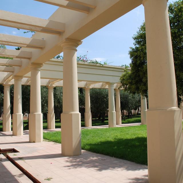 """Turia river park colonnade, Valencia"" stock image"