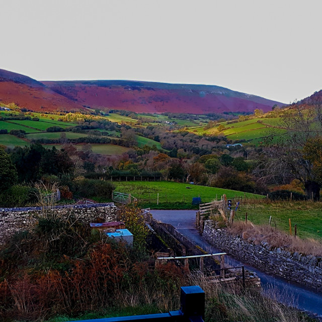 """""""A view from Cwmdu, Powys"""" stock image"""
