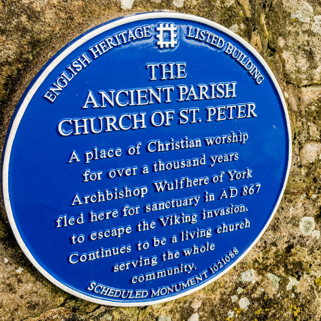 """Parish Church of St. Peter, Addingham, Yorkshire. English Heritage Listed Building Sign"" stock image"