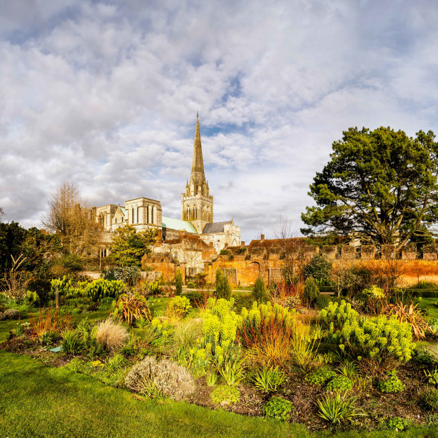 """Chichester Cathedral gardens panorama"" stock image"