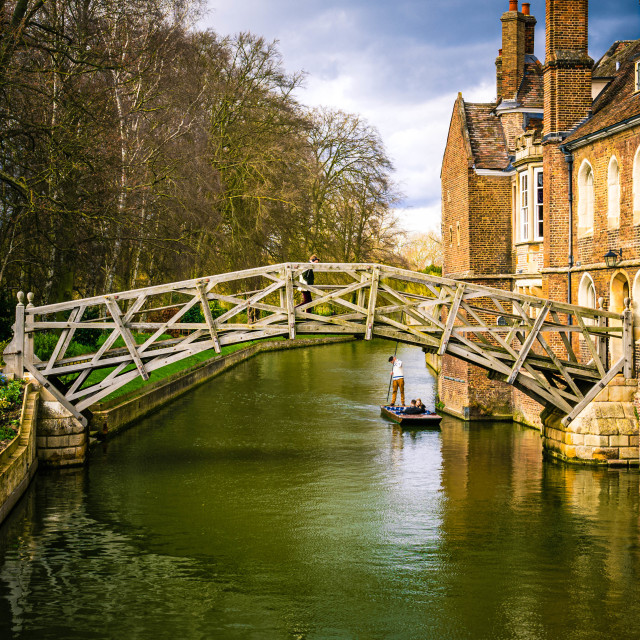 """Mathematical Bridge, Cambridge UK."" stock image"