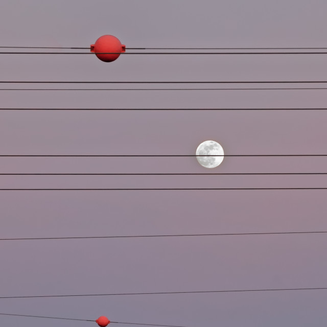 """Moon and high voltage power line"" stock image"