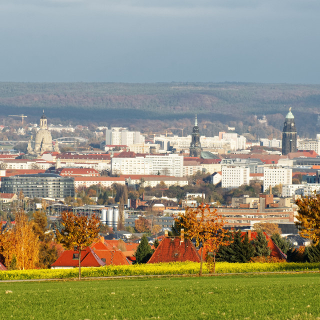 """""""Autumn view over the city center of Dresden"""" stock image"""