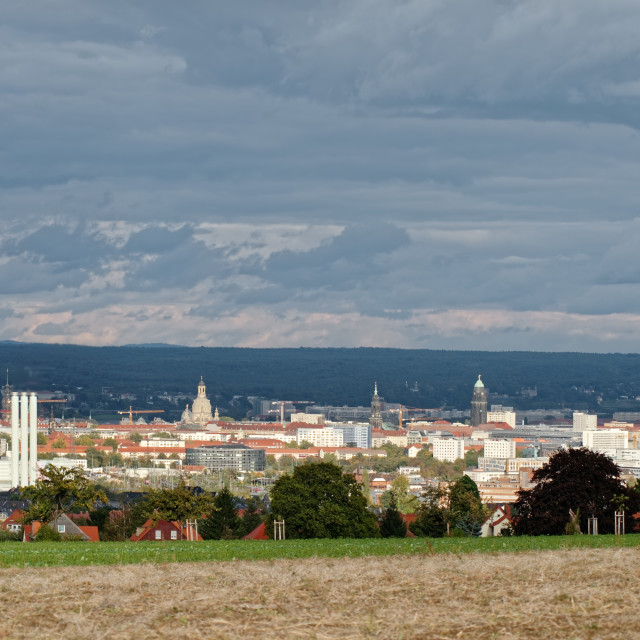 """""""View over the city centre of Dresden"""" stock image"""