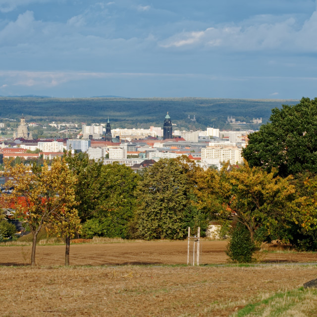 """""""Autumn view over the city centre of Dresden"""" stock image"""
