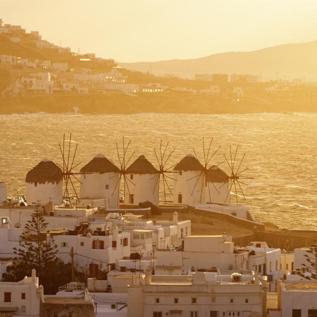 """Mykonos - windmills in the golden light"" stock image"