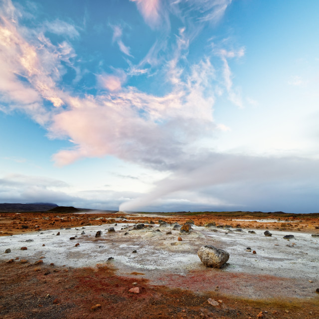 """""""Iceland - volcanic landscape - geothermal area with steam outlet"""" stock image"""
