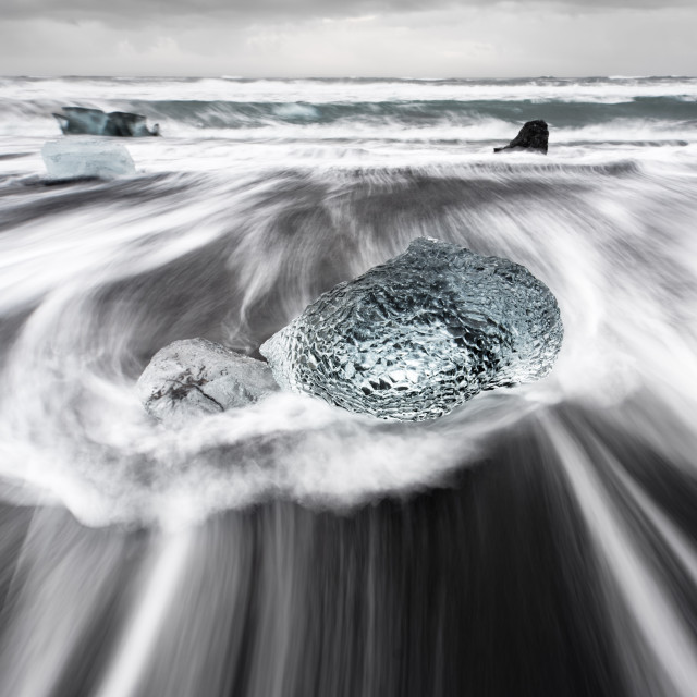 """""""Big block of ice in the surf"""" stock image"""
