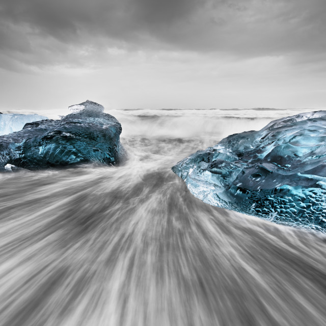 """""""Ice blocks in the surf"""" stock image"""