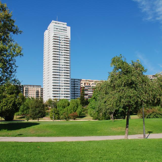 """Turia river park paths, Valencia"" stock image"