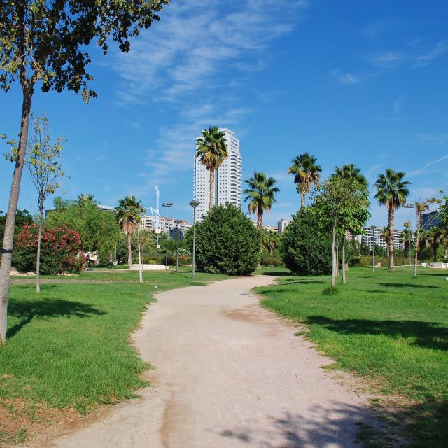 """Turia river park in Valencia"" stock image"