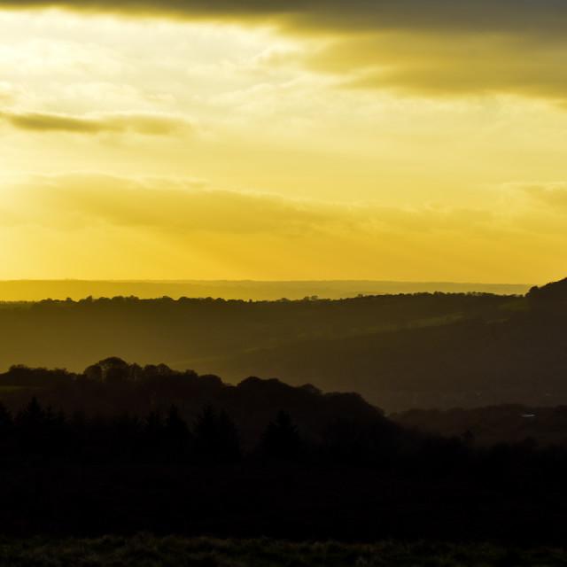 """Caerphilly Sunset"" stock image"