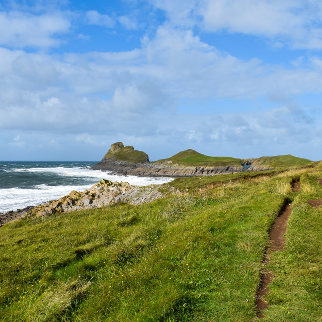 """""""Cliff Path to Worm's Head"""" stock image"""