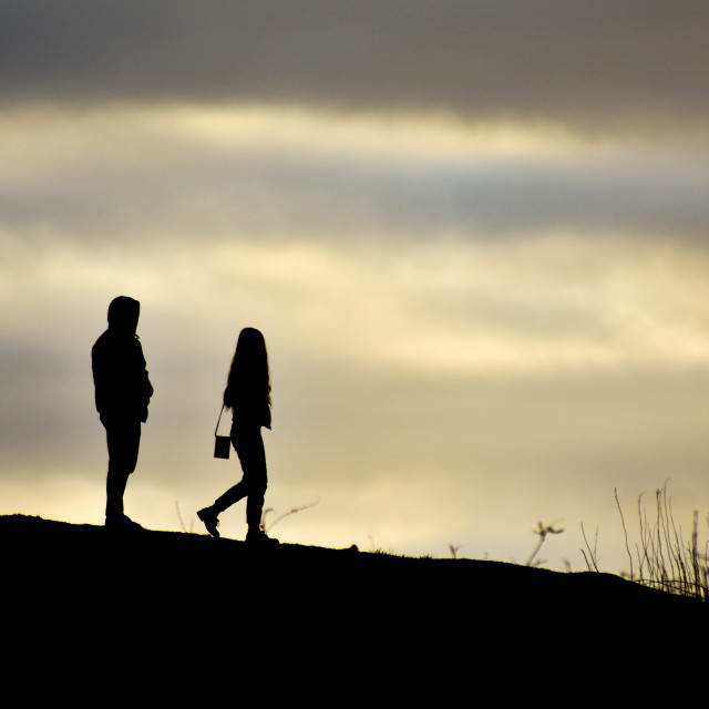 """""""Couple on a Hill"""" stock image"""
