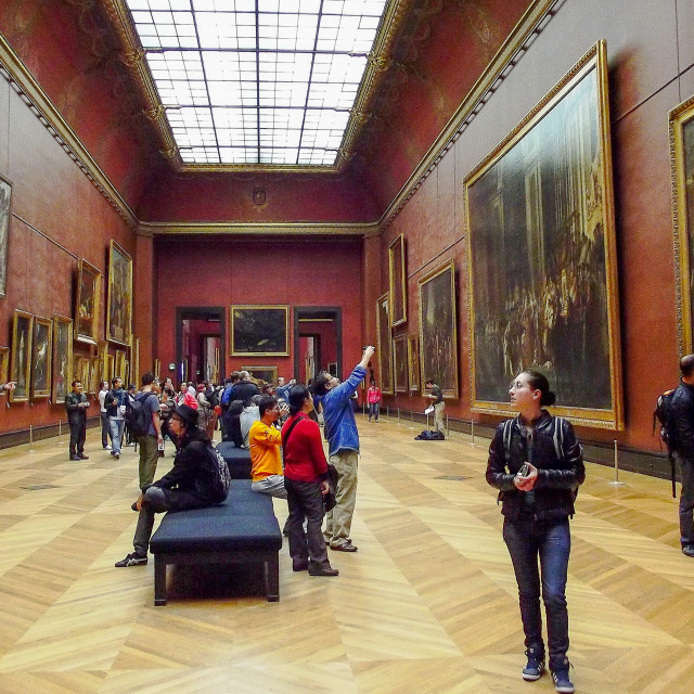 """""""Display of Pictures in the Louvre, Paris"""" stock image"""