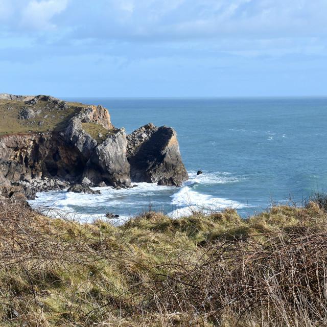 """The Pembrokeshire coast near Castlemartin"" stock image"
