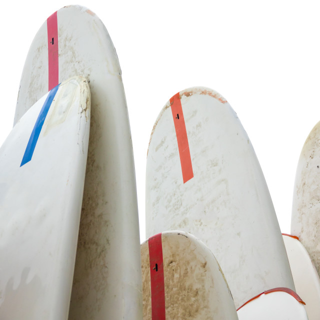 """""""Isolation Of Grungy Old Surfboards"""" stock image"""