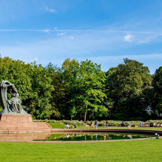"""The Chopin Monument in the Lazienki Park."" stock image"
