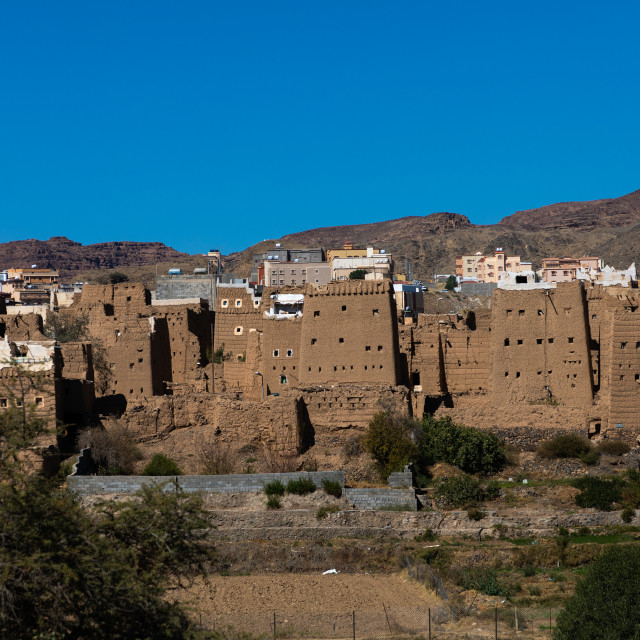 """Traditional old multi-storey mud houses, Asir province, Dahran Aljanub, Saudi..."" stock image"