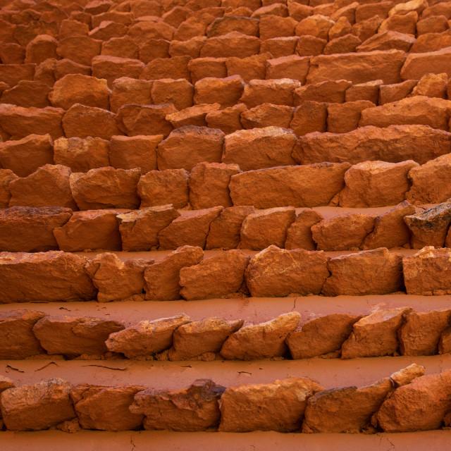 """Red stone and mud houses with slates, Asir province, Sarat Abidah, Saudi Arabia"" stock image"