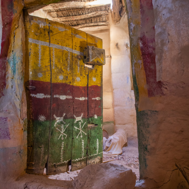 """""""Old colorful wooden door of an abandonned house, Asir province, Sarat Abidah,..."""" stock image"""