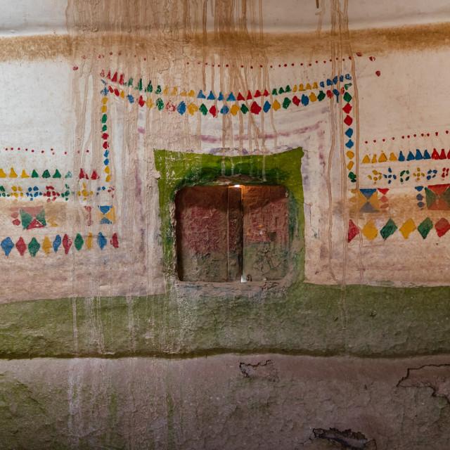 """Al-qatt al-asiri female interior window decoration in an abandonned house,..."" stock image"