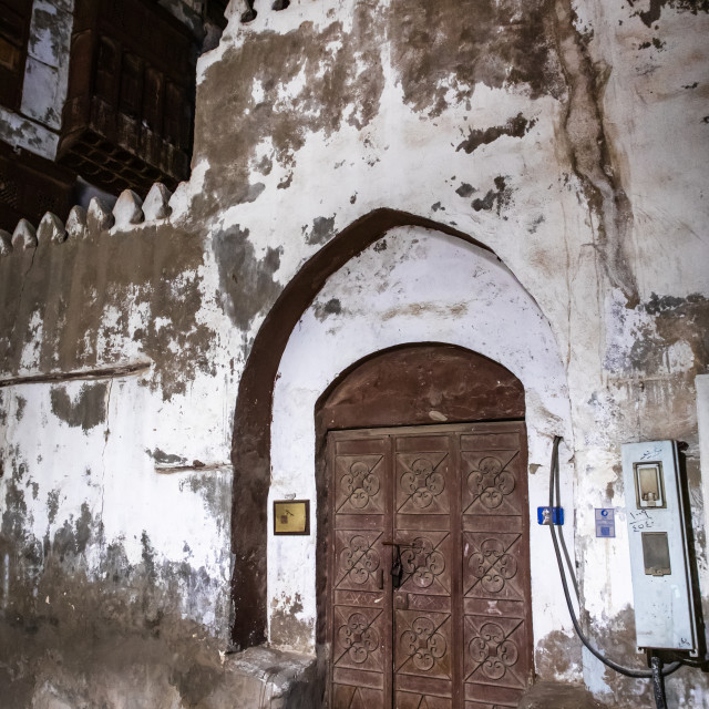 """""""Wooden door of an old house in al-Balad quarter, Mecca province, Jeddah,..."""" stock image"""
