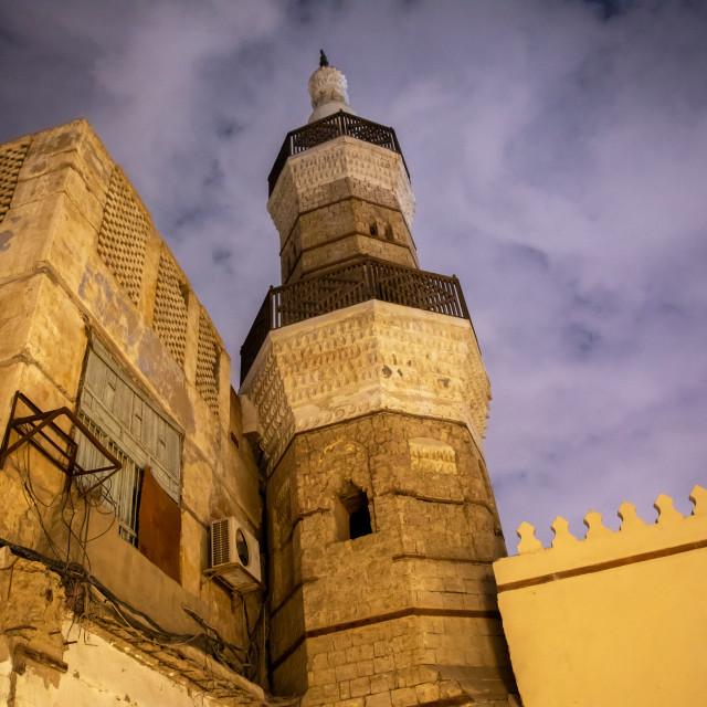 """Al Shafi mosque minaret at dusk, Mecca province, Jeddah, Saudi Arabia"" stock image"