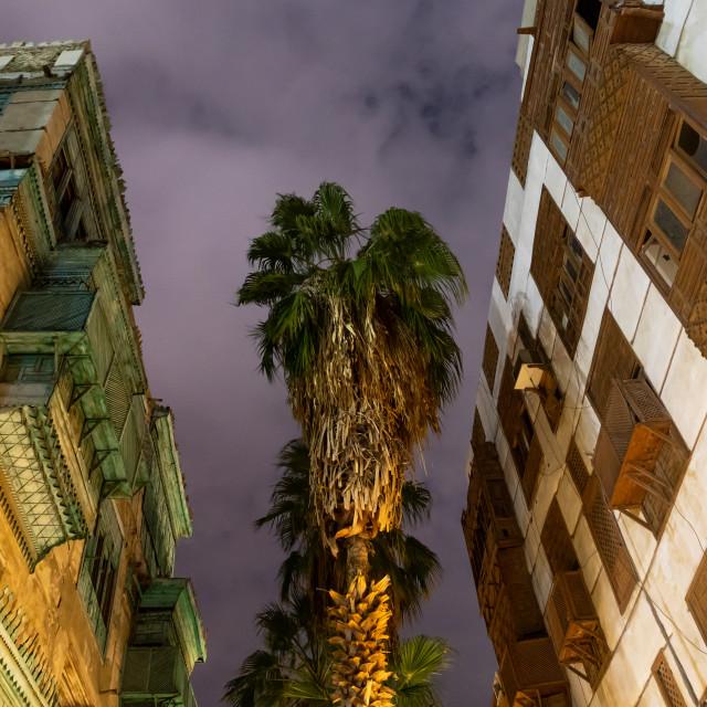 """Historic house with wooden mashrabiyas in al-Balad quarter at night, Mecca..."" stock image"
