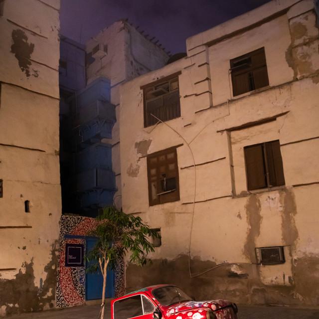 """Modern art exhibition of an half car in al-Balad quarter, Mecca province,..."" stock image"
