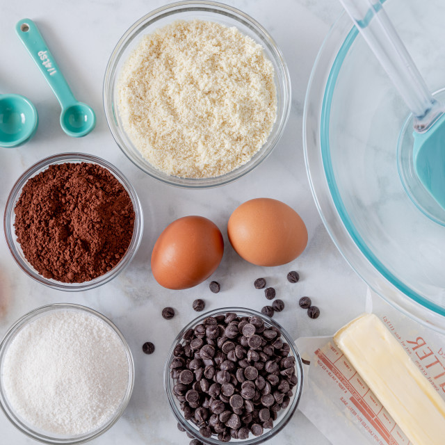 """Ingredients for making keto chocolate brownies"" stock image"